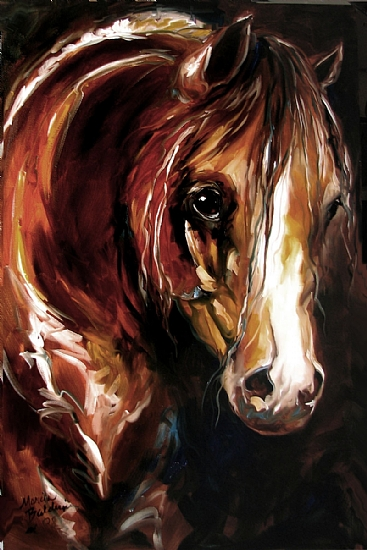 EBONY NIGHTS EQUINE by M BALDWIN Oil ~ 36 x 24