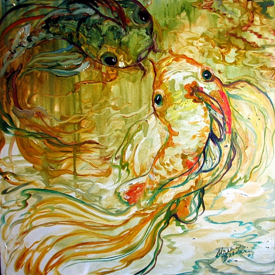 KOI ABSTRACT ONE by M BALDWIN Oil ~ 20 x 20