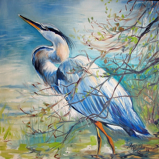 GREAT BLUE HERON LANDSCAPE by M BALDWIN Oil ~ 18 x 18