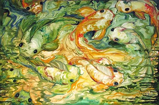 NINE KOI ABSTRACT by M BALDWIN Oil ~ 24 x 36