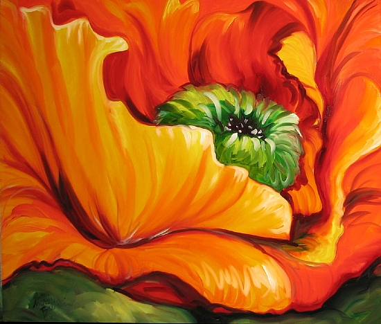 RED POPPY ABSTRACT 3024 by M BALDWIN Oil ~ 24 x 30