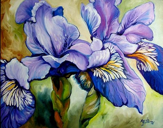 Louisiana Wild Iris Abstract by M BALDWIN Oil ~ 22 x 28