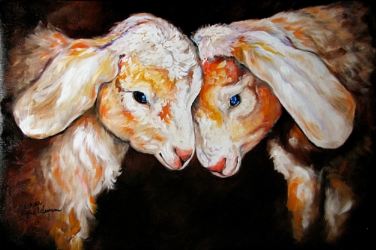 TWO LITTLE GOATS by M BALDWIN Oil ~ 24 x 36
