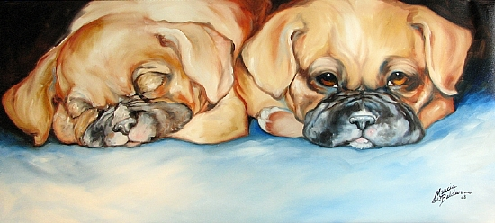 SLEEPY & NOT ME !! by M BALDWIN Oil ~ 18 x 40