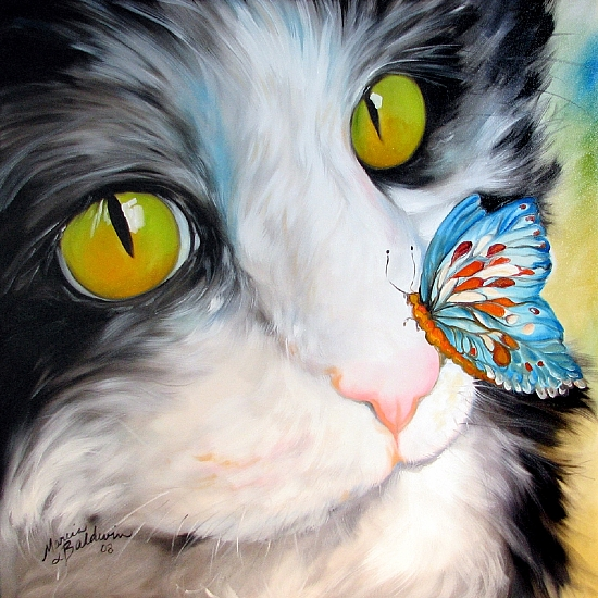 BUTTERFLY KITTY by M BALDWIN Oil ~ 30 x 30