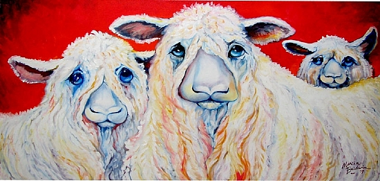 SWEET WESLEYDALES by M BALDWIN by M BALDWIN Oil ~ 18 x 36