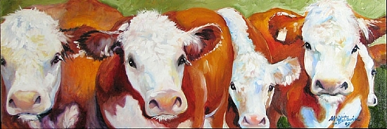 FAB FIVE COWS by M BALDWIN Oil ~ 10 x 30