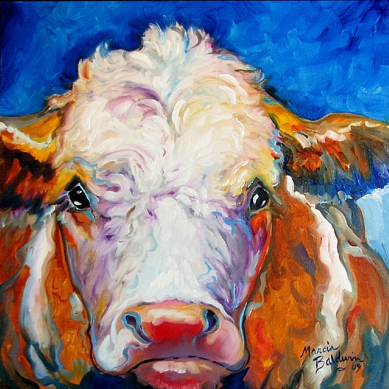 BLUE MOON BULL by M BALDWIN Oil ~ 18 x 18