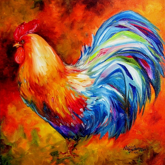 SPLASH of COLOR Rooster by M BALDWIN Oil ~ 18 x 18