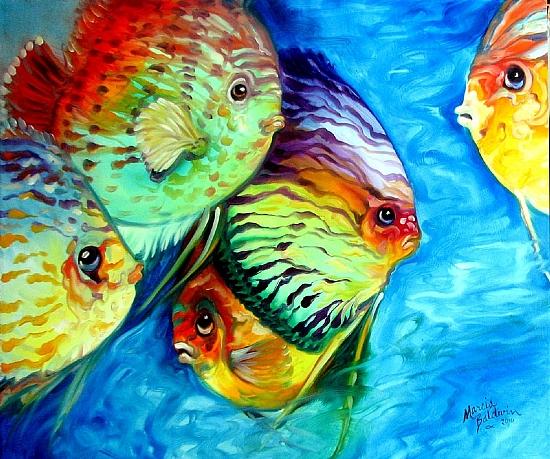 TROPICAL FISH COLORS by M BALDWIN Oil ~ 20 x 24
