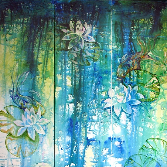 LILY POND & KOI ABSTRACT by M BALDWIN Oil ~ 36 x 36