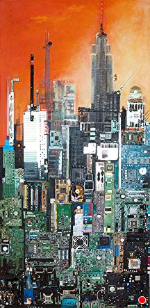 NEW YORK N.Y. by KiKi Kaye mixed media ~ 67 x 32