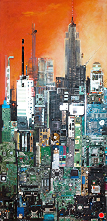 NEW YORK N.Y. by KiKi Kaye mixed media ~ 67 x 32