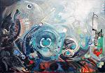 "Traffic under Sea Level by KiKi Kaye Acrylic ~ 20"" x 28"""