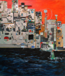 """Puerto Vallarta by Night"""" by KiKi Kaye mixed media ~ 28 x 24"""