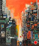 """""""Watch Traffic Light"""" by KiKi Kaye mixed media ~ 28"""" x 24"""""""