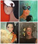 "Serie ""Favorite Girls"" by KiKi Kaye Acrylic ~ 32"" x 28"""