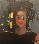 "Serie ""Favorite Girls"" # Four  ""Yes"" by KiKi Kaye Acrylic ~ 32"" x 28"""