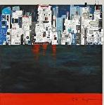 """""""City View"""" by KiKi Kaye mixed media ~ 33"""" x 33"""""""