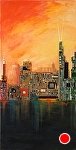 """Beautiful City"" by KiKi Kaye mixed media ~ 47 x 24"