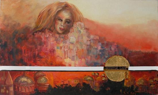 """Universal Love"" by KiKi Kaye Oil ~ 29 in x 47"""