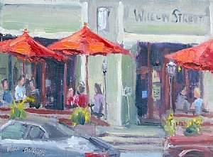 Under Red Umbrellas by Mike Bagdonas Oil ~ 6 x 8