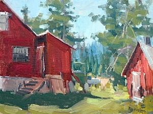 "Rustic Cabins by Mike Bagdonas Oil ~ 9"" x 12"""