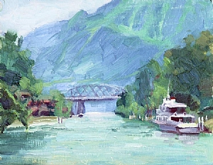 "Interlaken Scenery by Mike Bagdonas Oil ~ 8"" x 10"""