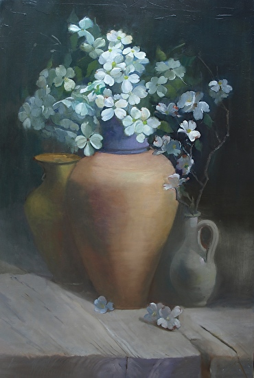 Dogwood and tuscan jug - Oil