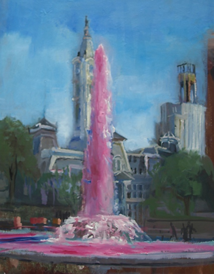 Fountain for Breast Cancer, Love Park - Oil