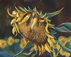 End of the Season Oil on canvas one of three pieces accepted in Sunflower CIRQUE at Warehouse 414.