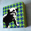 Bulldog Pup Silhouette in Houndstooth Canvas