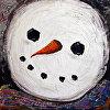 Closeup Snowman in Scarf