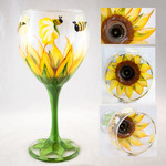 Penny FireHorse - Learn to Hand Paint Sunflower Wine Glass Class - Set of 2