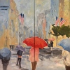 Strolling 5th Avenue  Diptych 48x48