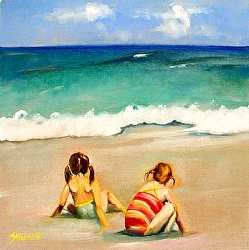 Beach Buddies by Gina Strumpf Oil ~ 16 x 16
