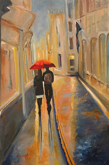 Love in the Rain by Gina Strumpf Oil ~ 36 x 24