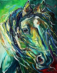 Beautiful Blue by Gina Strumpf Oil ~  x