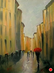 "Nella Pioggia ~ �In the Rain"" by Gina Strumpf Oil ~ 40 x 30"