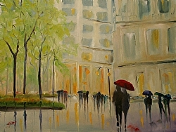 Spring in The City by Gina Strumpf Oil ~ 30 x 40