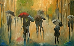 Conversations in The Rain by Gina Strumpf Oil ~ 30 x 48