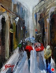 "Study ""Rainy Day in Florence"" by Gina Strumpf Oil ~ 8 x 6"