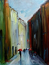 Walk in The Rain by Gina Strumpf Oil ~  x