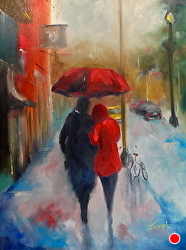Love in The Rain by Gina Strumpf Oil ~ 24 x 18