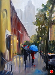 Strolling Upper East by Gina Strumpf Oil ~ 40 x 30