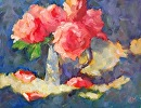 Pink Roses by Karen Meredith Oil ~ 11 x 14