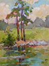 Trees by the Lake by Karen Meredith Oil ~ 8 x 6