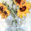 Sunflowers in a Glass Vase
