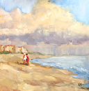Beach Walkers by Karen Meredith Oil ~ 12 x 12