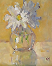 Daisies in Glass by Karen Meredith Oil ~ 10 x 8